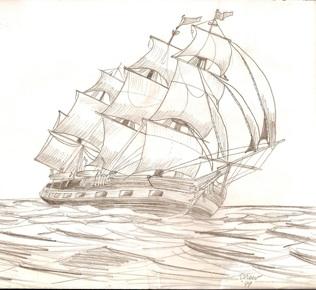 how to draw big sailing ship